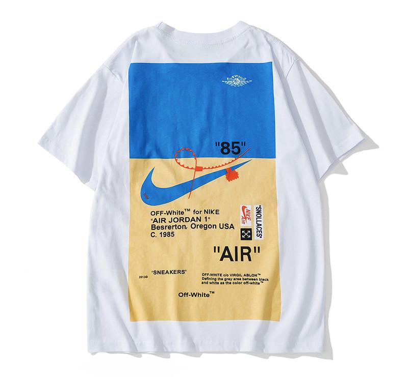 Футболка Off white x Nike белая (с синим принтом офф вайт найк мужская женская)