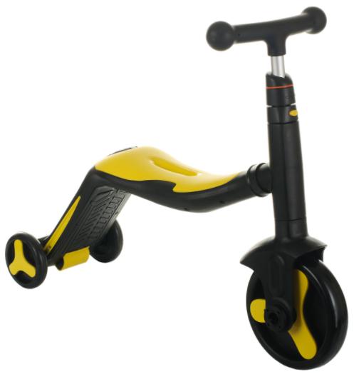 Беговел 3 в 1 FL868 з музикою жовтий (від 1 року) дитячий триколісний велосипед, самокат з підсвічуванням