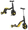 Беговел 3 в 1 FL868 з музикою жовтий (від 1 року) дитячий триколісний велосипед, самокат з підсвічуванням, фото 3