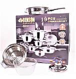 Набір каструль з нержавіючої сталі 19 предметів Benson BN-200 (+ківш, сковорода)   каструля Бенсон, Бэнсон, фото 5