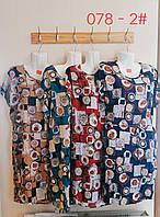 Жіноче пряме батальне плаття ПРИНТ розмір 62-64,мікс кольорів в упаковці