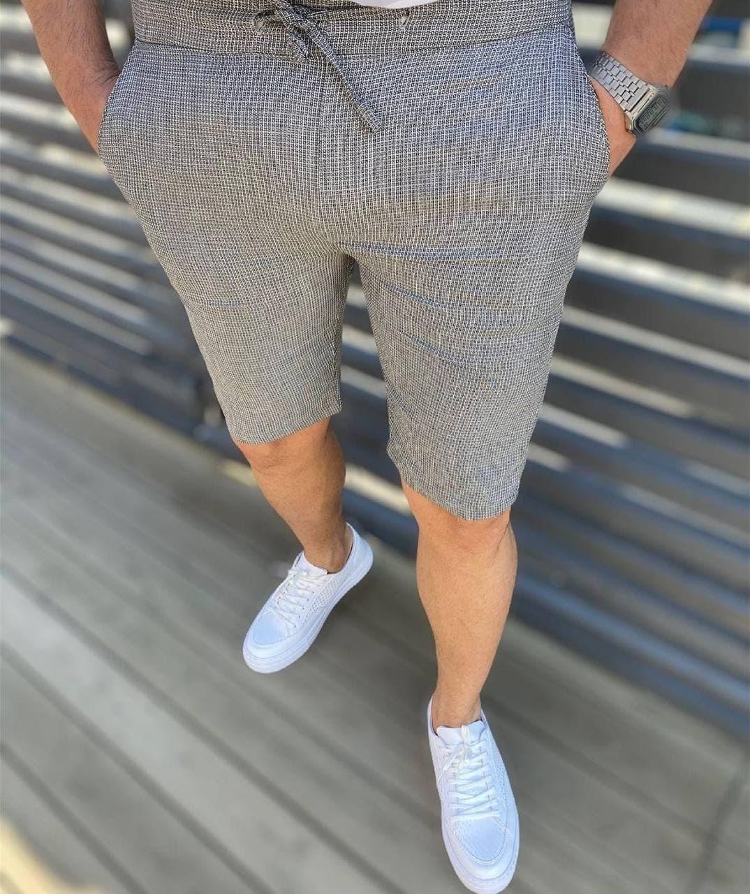 Приталені чоловічі шорти сірого кольору