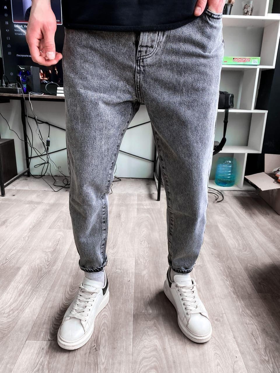 Мужские прямые джинсы МОМ серого цвета