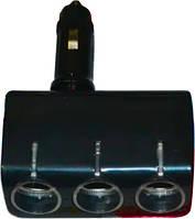 AC-1249 (WF-0100) - розгалужувач 3*прикуреватель + 1*USB, фото 1