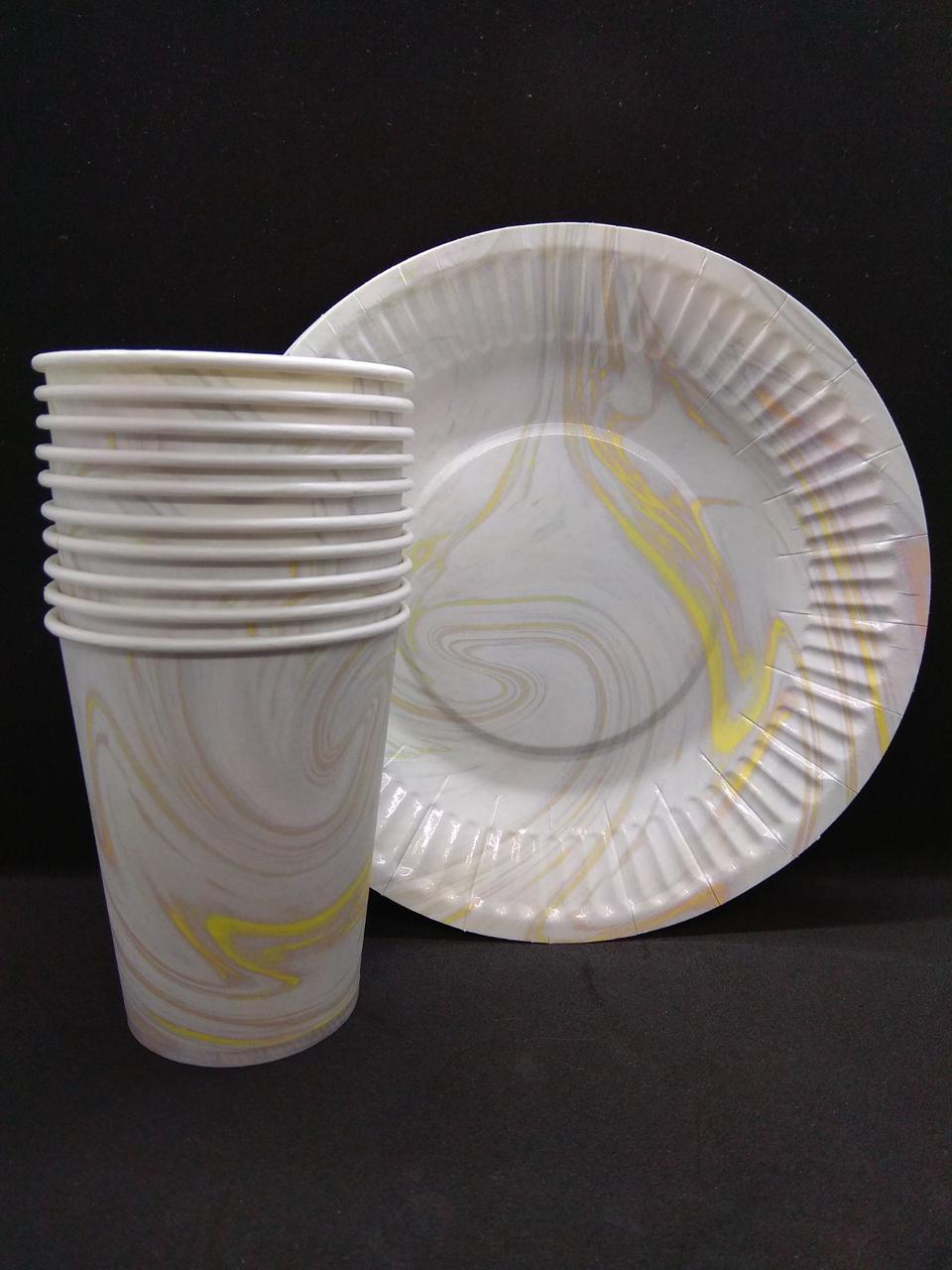 Одноразова посуд білий мармур 10 тарілок , 10стаканчиков