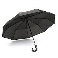 Зонт мужской автомат складной ручка-крюк прочный купол 105 см 9 спиц антиветер Черный Yuzont 503