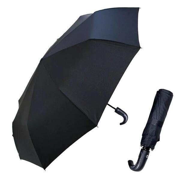 Зонт чоловічий автоматичний складаний 9 спиць антиветер міцний ручка-гак Універсальний 509 Чорний