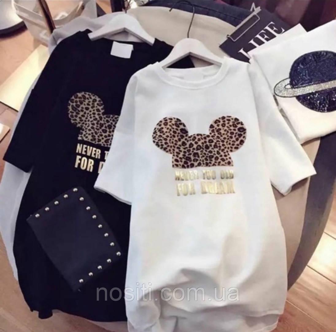 Женская туника-футболка оверсайз с Микки Маусом