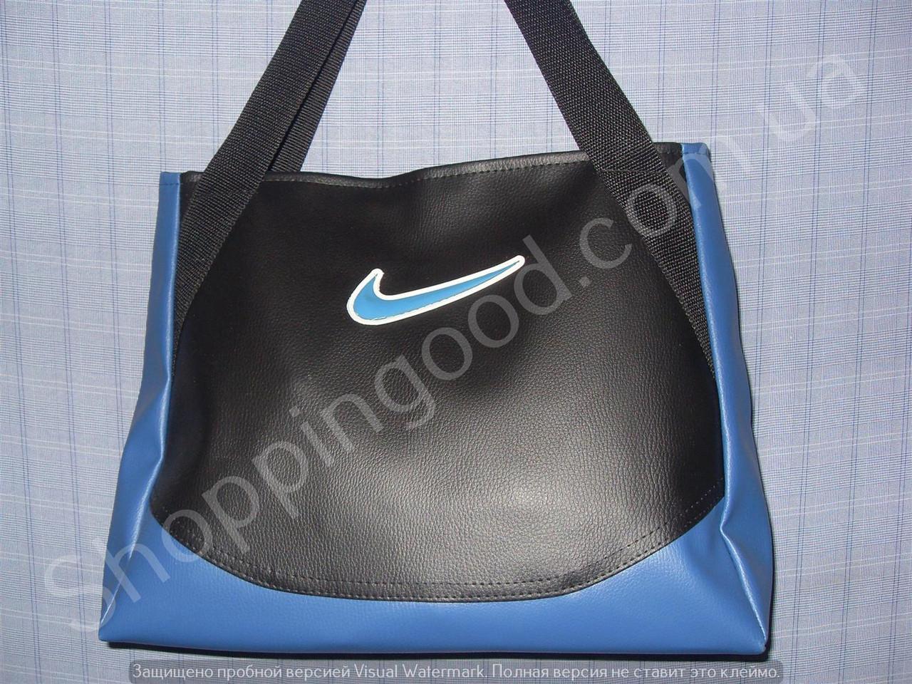 55302d79ca1a Женская сумка Nike 013623 черная с синим дном спортивная городская гладкий  кожзам копия