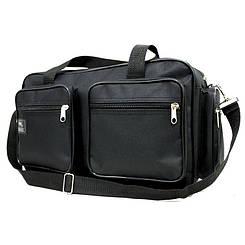Зручна якісна сумка через плече Wallaby чоловіча з накладними кишенями, чорного кольору Розміри: 37х23х16