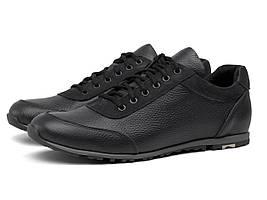 Мужские черные кроссовки кожаные кеды обувь демисезонная Rosso Avangard Ada Sport Black