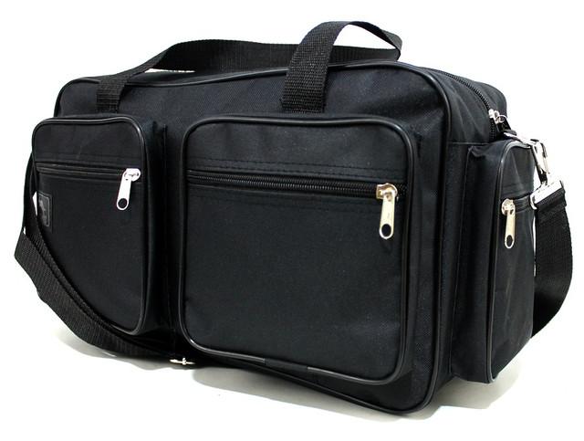 Прочная сумка через плечо Wallaby для мужчин с накладными карманами черного цвета Размеры: 41х27х14