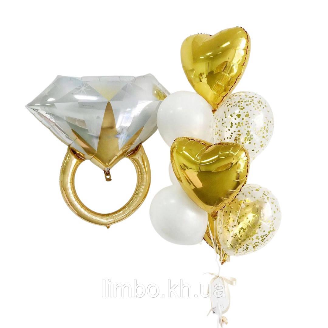 Воздушные шары на девичник с фольгированным кольцом