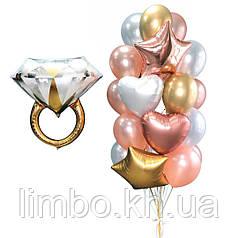 Оформление девичника шарами с фольгированным кольцом
