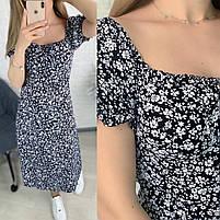 Женское нежное приталенное платье с разрезом в цветочный принт (Норма), фото 6