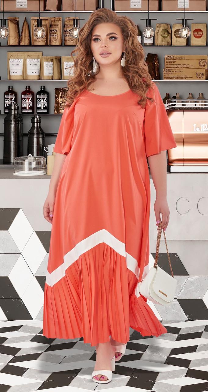 Женское коралловое длинное платье от 50р.