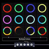 Кольцевая Цветная лампа 30 см RGB + штатив 2 м. Круглая лампа LED лампа. Светодиодная лампа, фото 3