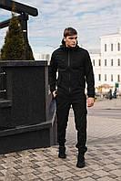 Мужской костюм Softshell черный демисезонный. Куртка мужская, штаны утепленные