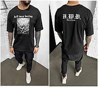 Мужская футболка оверсайз черного цвета, свободная черная футболка с принтом Турция