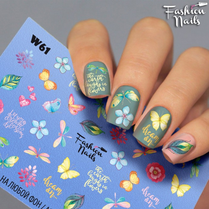 Слайдер-дизайн ЦВЕТЫ Бабочки Стрекоза - Водные наклейки для ногтей Fashion nails W61 Наклейки Бабочки на Ногти