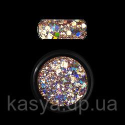 Гліттер голограмний мікс Золото №02/ Holo Glitter Mix Gold