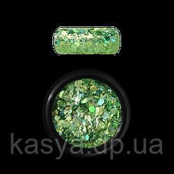 Гліттер голограмний мікс Зелений №08 / Holo Glitter Mix GREEN