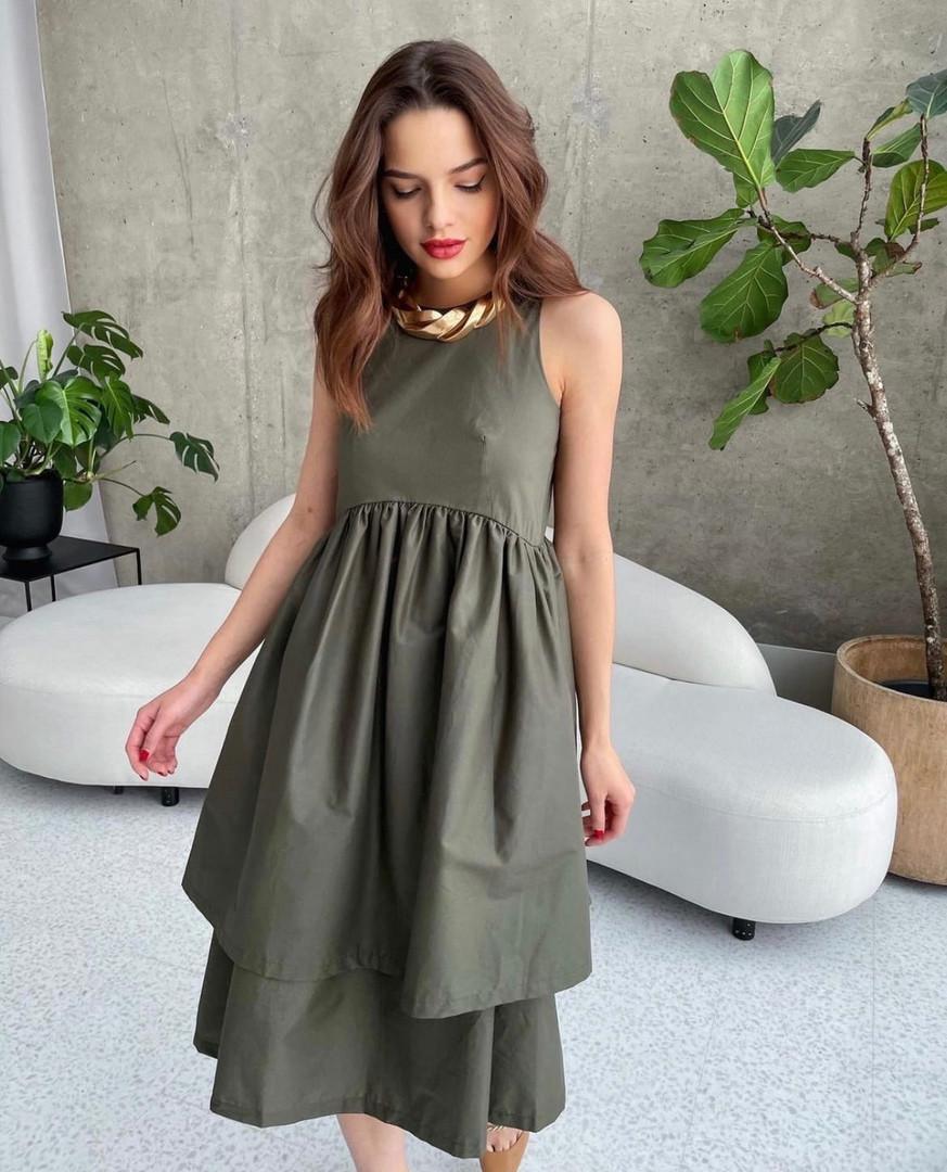Котоновое платье с двойной юбкой 13-389