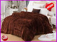Меховой плед покрывало Травка Евро 220x240 Коричневый   Большое одеяло для кровати   Мягкий Плед
