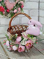 Пасхальная корзина с кроликом, Н с ручкой 23 см, верх-диам 19 см, детская, пасхальный декор.