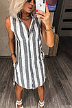 Летнеее лляне плаття в смужку 18-226, фото 2
