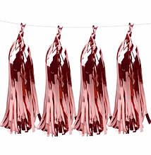 Кисточка тассел, фольга, розовое  золото  - 35 см 5 шт. в уп.