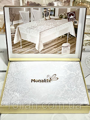 Турецкая скатерть Monalife Белый цвет