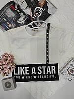 Укороченная футболка для девочки подростка рост 152-176
