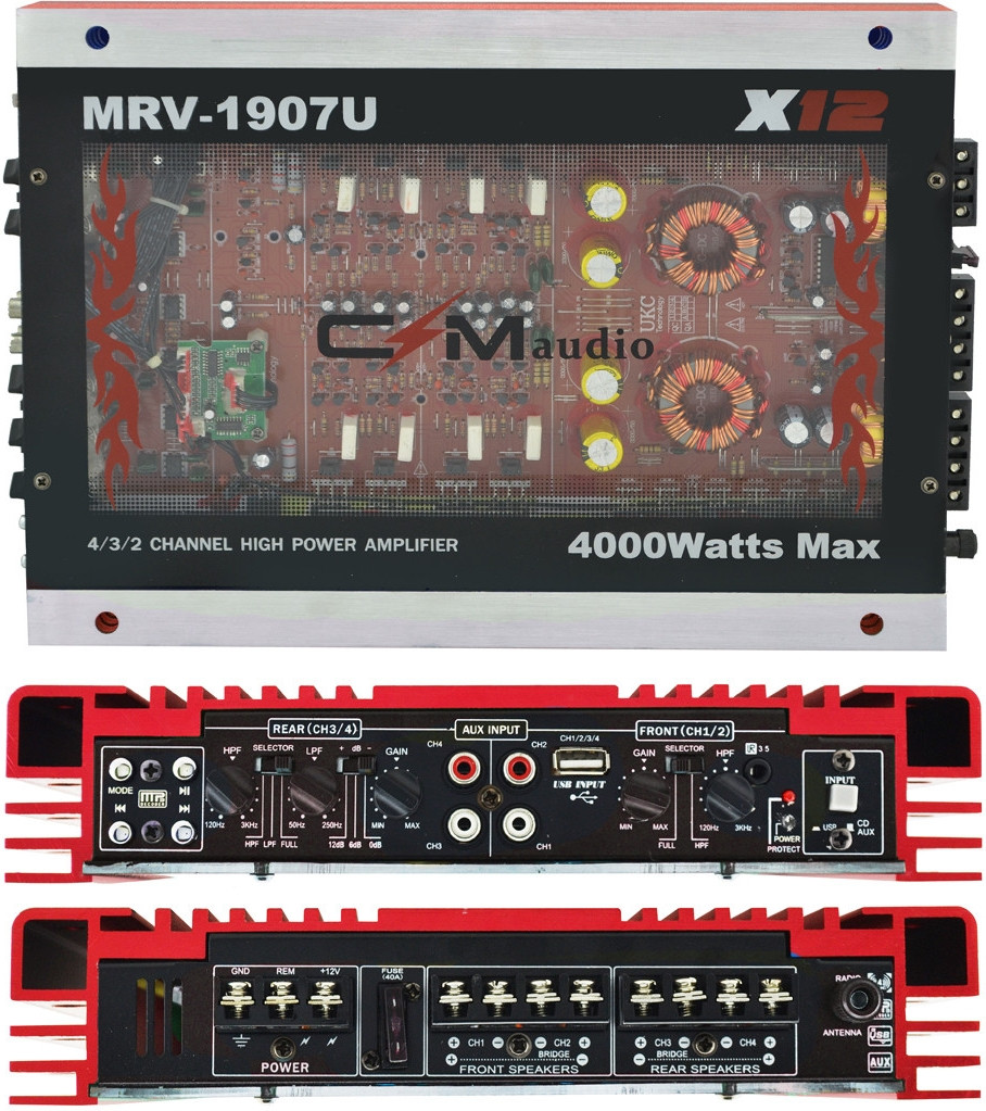 Автомобільний 4-канальний підсилювач звуку CIMaudio MRV-1907 4000W Silver/Red (4833)