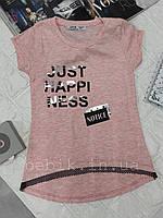 Рожева футболка для дівчинки з подовженою спинкою ріст 116-140