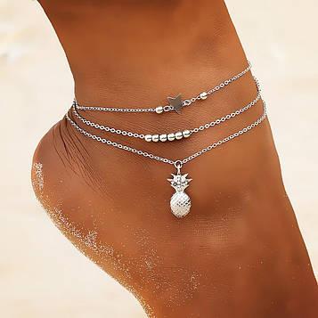 Набір жіночих срібних браслетів на ногу код 1674