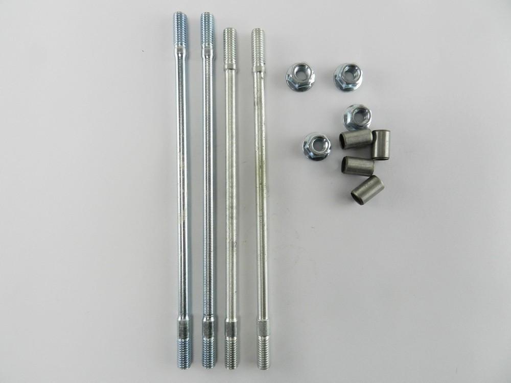 Шпильки цилиндра GY6-125/150cc (125 - 150 кубов) (комплект 4 шт + гайки + направляющие)