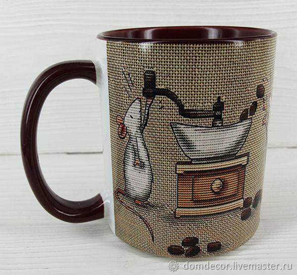 Печать фото на чашках коричневых внутри и с коричневой ручкой