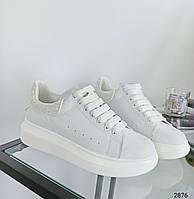 39 р. Кросівки жіночі білі шкіряні на низькому ходу на підошві з із натуральної шкіри білого кольору, фото 1