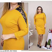 Красиве пряме однотонне плаття з креп-дайвінгу з мереживом Розмір: 48-50, 52-54, 56-58, 60-62 арт. 7701