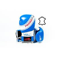 Боксерські рукавиці PowerPlay 3023 Синьо-Білі (натуральна шкіра) 10 унцій, фото 1