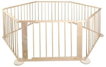 Багатоваріантний 6-панельний дерев'яний бар'єр / манеж Malatec 5,4 м Польща