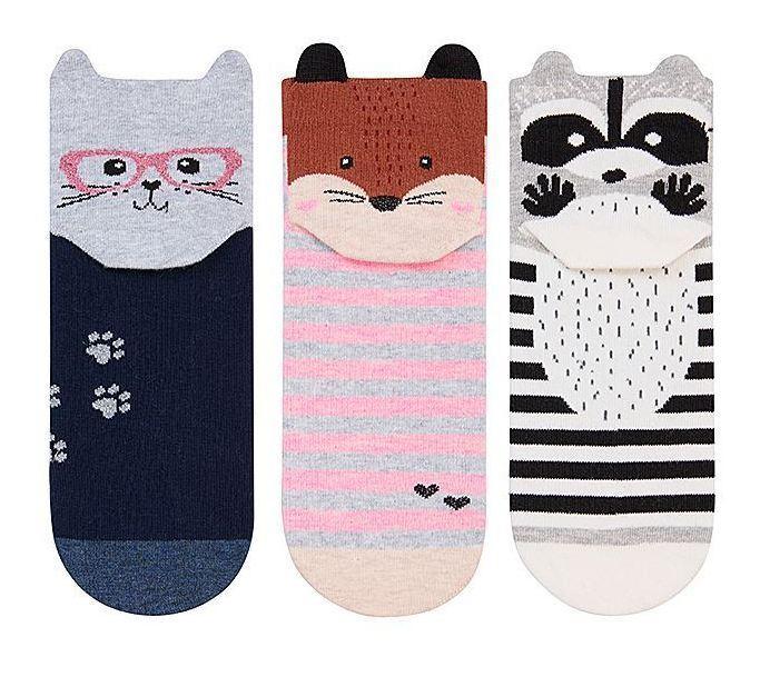 Набір 3 шт. Шкарпетки жіночі укорочені 3D Bross звірятка