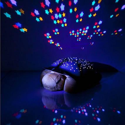 """Нічник-проектор зоряного неба для дітей """"Черепаха"""" музичний з USB Turtle small Синій (007-MH-3)"""