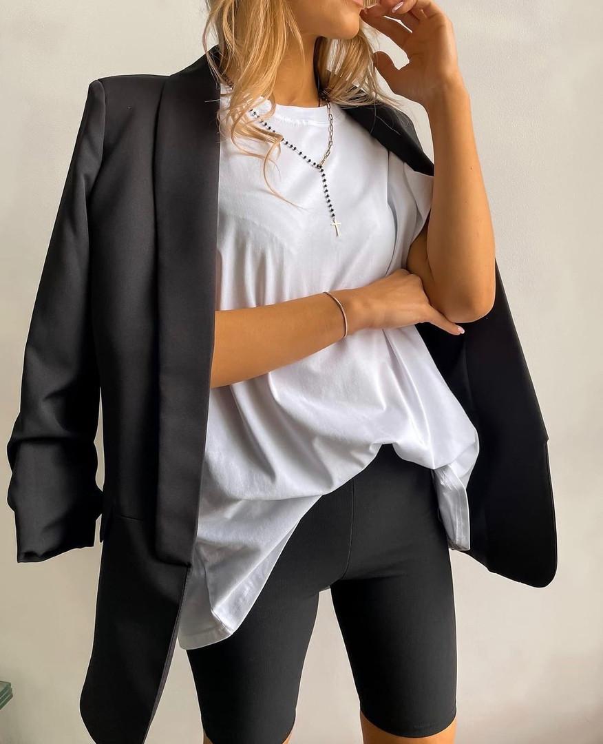Женский костюм, кулир, р-р универсальный 42-46; 48-52 (чёрный+белый)