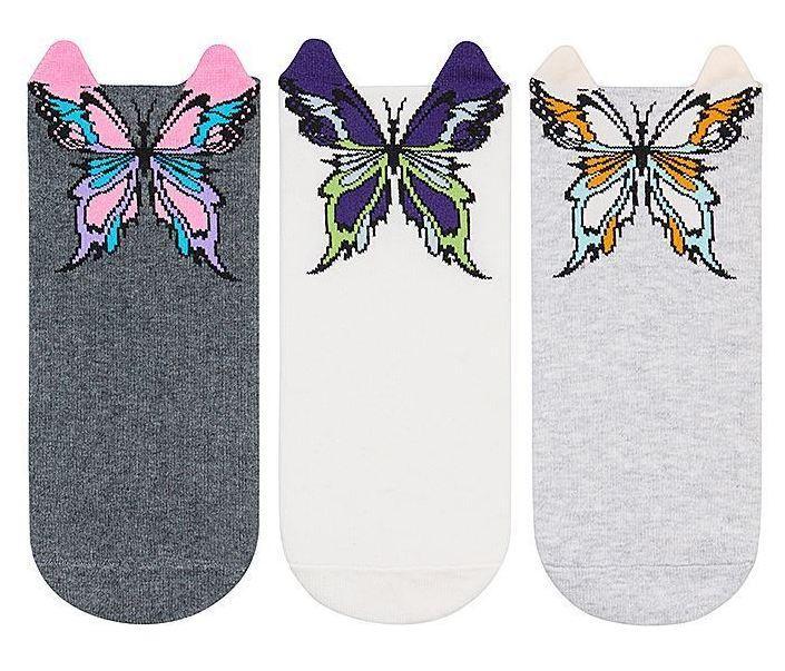 Набор 3 шт. Носки женские укороченные 3D Bross бабочка