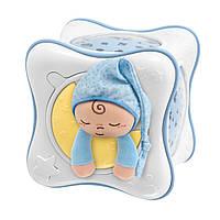 Дитяча М'яка Іграшка проектор-нічна лампа Веселка Блакитна з вибором мелодій, кольорів і фігур Chicco Чіко