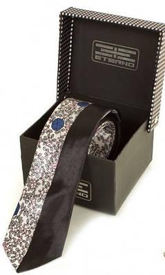 Молодежный узкий галстук из шелка ETERNO (ЭТЕРНО) EG619-1 разноцветный