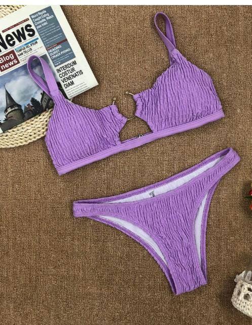 Фіолетовий роздільний купальник з топом з колечком