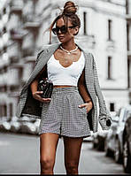 Жіночий стильний костюм: шорти і подовжений піджак з кишенями, фото 1